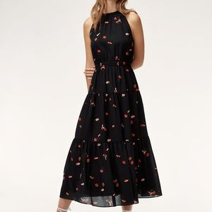 Aritzia Wilfred Effet Dress // Black/Goji Berry